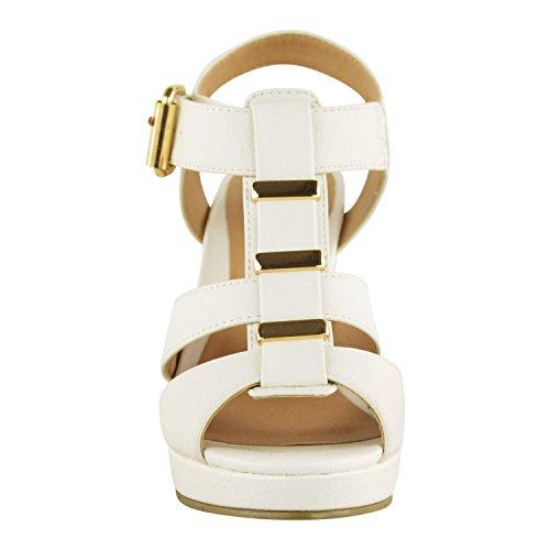 Sandales bout ouvert pour femmes brides BLANC FAUX CUIR