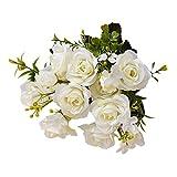 gzzebo 1 Bouquet 15 Cabezas Artificiales Royal Rose Flowers Home Office Party Decoración de la Boda Photo Props Blanco
