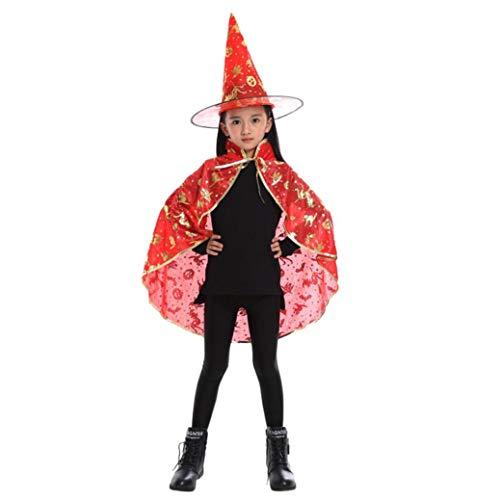(IZHH Kinder Jungen Mädchen Unisex Neuheit Feenhafte Nymphe Pixie Halloween Cosplay Karneval Zubehör Weihnachten Cosplay Kostüm Zusatz, Gedruckt Hexe Magischer Zauberer Umhang Cape Wrap Robe + Hut-Set)