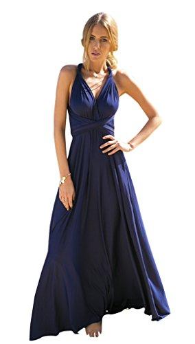 BOMOVO Damen Hochzeitkleid Multi-Seilquer Kleider Rückenfrei Sexy Verbandkleid Elgant Dunkelblau