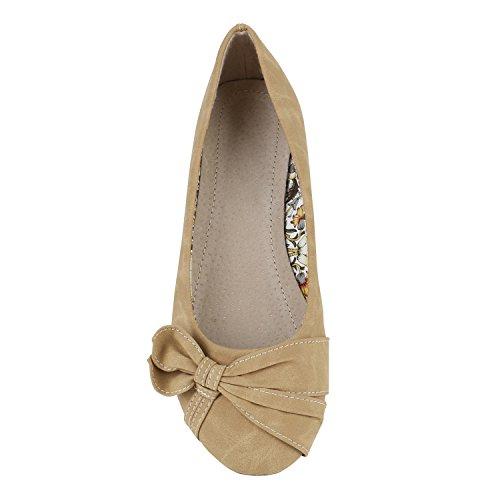 Stiefelparadies Klassische Damen Schuhe Strass Ballerinas Flats Slipper Übergrößen Karneval Fasching Prinzessin Märchen Fee Ballerina Flandell Hellbraun Muster