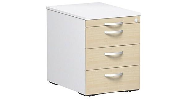 wei/ß 43.8 x 80 x 56.5 cm Gera M/öbel Container /& Funktionsm/öbel Rollcontainer Holzdekor