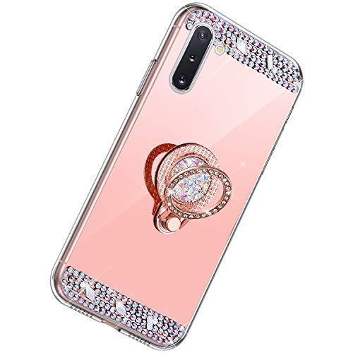 Herbests Kompatibel mit Samsung Galaxy Note 10 Hülle Glitzer Diamant Bling Strass Glänzend Kristall Handyhülle Spiegel Hülle Mirror TPU Silikon Case Handytasche mit Ring Ständer Halter,Rose Gold