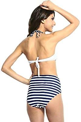 Kaamastra Women's High-Waisted Halter Top Bikini Swimwear(KA_LC40647-1,White,Freesize)