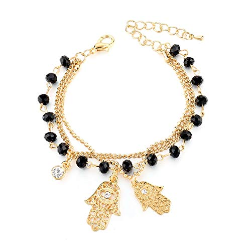 YCWDCS Armband Goldarmband-Armband-Art- und Weiseschmucksachen mit schwarzen Kristallkorne Evil Eye Bracelets for Women Wholesale