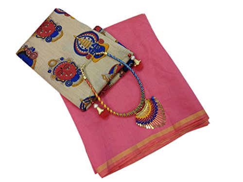 Radiance Star Chanderi Cotton Saree With Blouse Piece (Rs1219_Pink_Free Size)