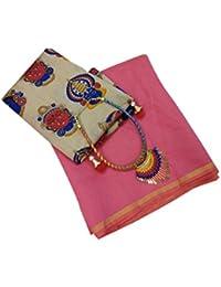 Shailaja Sarees Women's Plain Chanderi Cotton Silk Saree With Kamlakari Printed Blouse ( Free Necklace And Latkan)