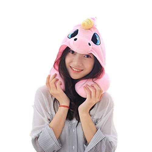 Mystery&Melody Unicornio U en Forma de Cuello Almohada Cojín del Cuello Unicornio Soporte Cojín para la Cabeza Soporte Alivio del Estrés Avión Oficina del Coche (Pink)