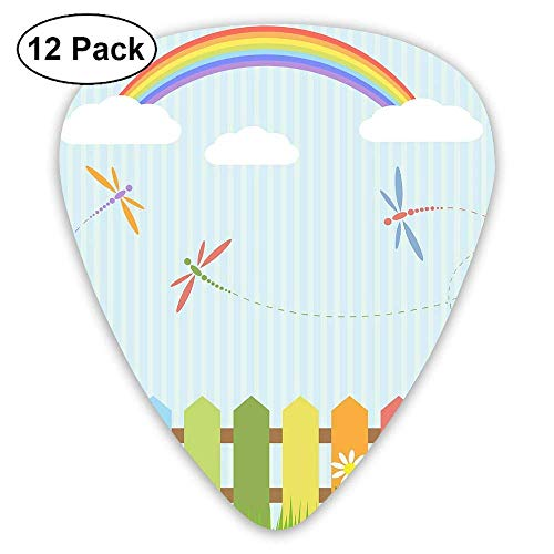 Colorful Dragonflies And Rainbow Guitar Picks (12 Pack) Unique Designs Guitar Picks