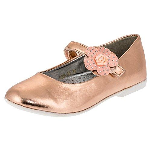 Festliche Mädchen Ballerinas Schuhe mit Klettverschluss in Vielen Farben M209rs Rosa 33