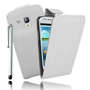 Etui Luxe Housse Blanc pour Samsung Galaxy Trend S7560 + STYLET et 3 FILMS OFFERTS !!…