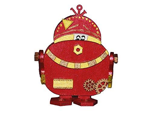 Petra's Bastel News Holz-Bastelset Roboter P B zwo Größe ca. 160 mm mit passender einglasigen Brille, holzfarben 20x15x5 cm