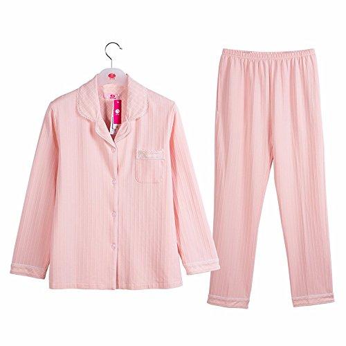 l'autunno e l'inverno del cotone a maniche lunghe risvolto donne nightclothes due pezzi di casa vestito rosa blu