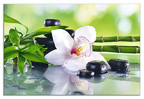 Artland Design Spritzschutz Küche I Alu Küchenrückwand Herd Wellness Zen Pflanze Fotografie Grün H8GR Spa Steine, Bambus Zweige und weiße Orchidee auf dem Tisch auf natürlichem Hintergrund - Natürlichen Grünen