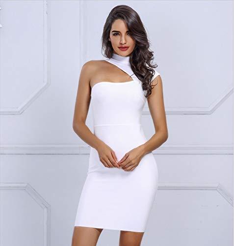 JJHR Kleider White Woman Bandage Kleider One Shoulder Cut Out Mini, Figurbetontes Kleid Summer Runway Dresses, M Cut-out-kleid Womens