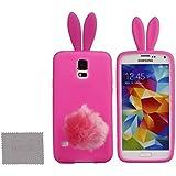 xhorizon® Bunny Rosa Hase Flaum Schwanz + Rosa Silikon Weich Hülle Case für Samsung Galaxy S5 i9600 G900