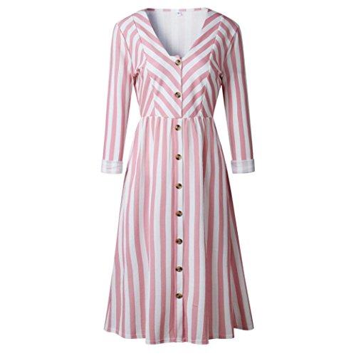 Mode Damen Casual Langarm V-Ausschnitt Striped Print Button Langes Kleid
