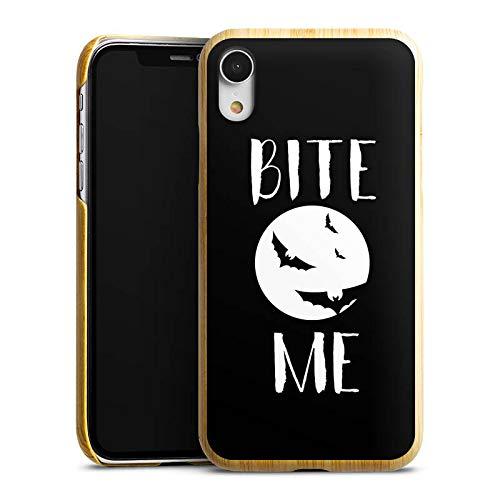 DeinDesign Holz Hülle kompatibel mit Apple iPhone Xr Holz Schutzhülle Echtholz Handyhülle Halloween Fledermaus Vampire -