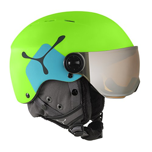Cébé Skihelm Fireball Junior Lime/Blue Cat 3, Matt and, 50-54 cm