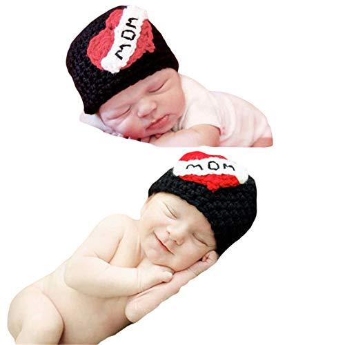 Zwillinge Kostüm Für Baby - Neugeborenes Baby Mädchen häkeln Kostüm Outfits Fotografie Requisiten Liebe Mama Papa Zwillinge Hut 0-6 Monate