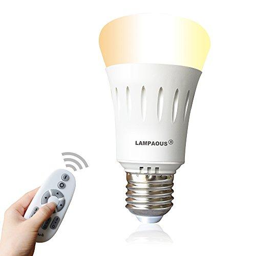 Lampaous Dimmbar E27 LED Lampe Birne 9W, ersetzt 60W Halogenlampe 270° Intelligente Steuerbar Leuchte mit 2,4G Wifi Fernbedienung, Farbtemperatur von 2700K bis 6500K Warmweiß Weiß Kaltweiß