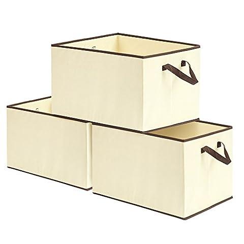 EZOWare ( Set of 3 ) 57L Folding Storage Basket Organiser Box Portable Foldable Bin Bag w/ Handle for Clothes, Kids Toys, Books, Food, and Towels -