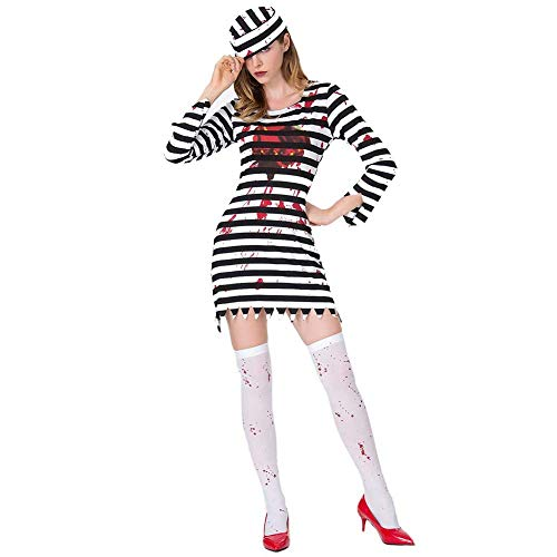 Halloween Jail Kostüm - GLXQIJ Womens Zombie Convict Jail Prisoner Damen Halloween Party Bar Kostüm, Kleid & Hut,BlackandWhite,S