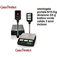 BILANCIA ELETTRONICA CON TORRE OMOLOGATA CRIOS10 CON BATTERIA E ALIMENTATORE PORTATA 6/15 Kg DIV.2/5g - CASSADIRETTO.IT -