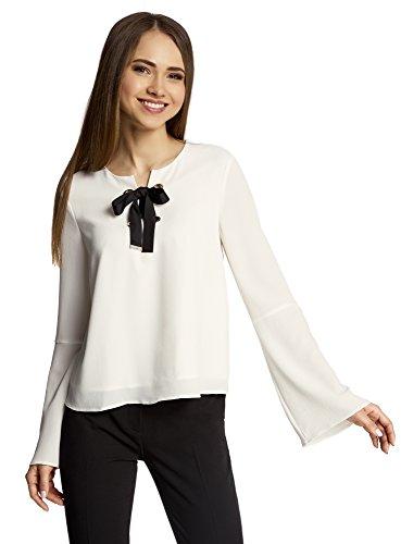 oodji Ultra Damen Bluse mit Schleife und Glockenärmeln Elfenbein (3000N)