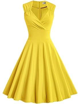 MUXXN Donna Vestiti anni '50 Scollo a V Vestiti a Ruota da Sera Vestito Donna Elegante