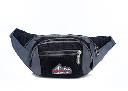 ZYT Nylon outdoor Sport Reisen kleine Taschen Brusttaschen Ranzen Tasche 10 Zoll für Männer und Frauen Black