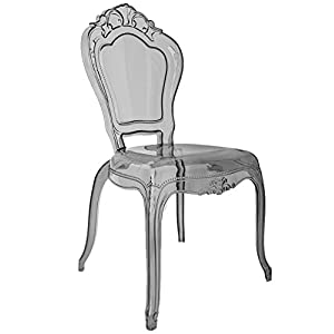 Ghost Dining Bedroom Vanity Dressing Chair Smoky Grey Clear Transparent Stackable Louis Style Polycarbonate plastic acrylic belle french victoria shabby chic accent side baroque starck kartell