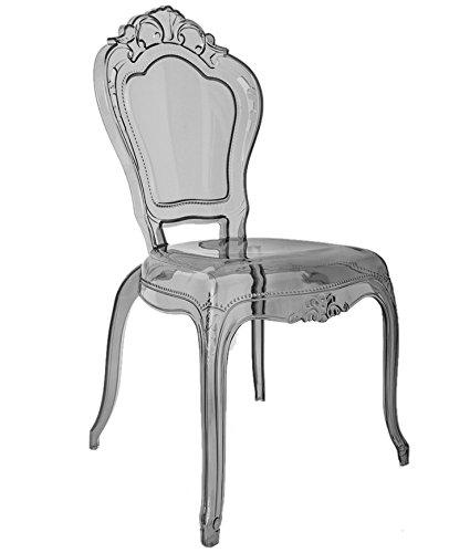 Ghost Gris fumé clair, Transparent Chaise de salle à manger, style de Louis, EN Polycarbonate, plastique, belle Style français Vogue Vanity Chaise par Millyanne London