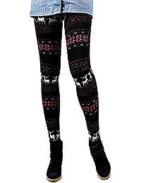 36f9117fdc5 Libella Winterleggings Skinny Thermoleggings Laufhose Norweger mit  Weihnachtsmotiven Teddy-Innenfleece Frauen Mädchen 4145