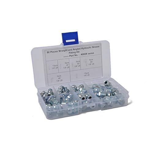 Demino 50PCS métrique hydraulique Graisse Zerk Set Assortiment Montage zingage Huile Buse Kit Set Argent 13 * 7 * 2.3cm