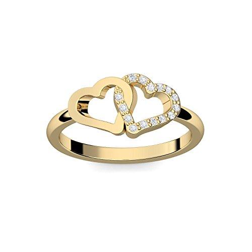 Herzring Gold Herz Ring Gold Verlobungsringe Gelbgold vergoldet Zirkonia Stein + LUXUSETUI! Goldring Ring Zirkonia wie Diamant Ringe Heiratsantrag Verlobung Geschenke Frauen FF206 VGGGZIFA54