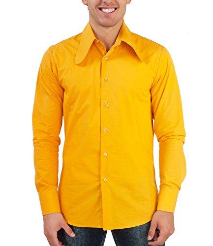 Comycom 70er Jahre Hemd Gelb Dackelohr Kragen ()