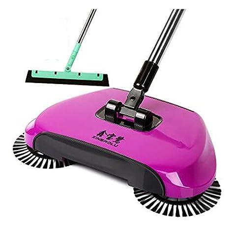 Cuzit Lazy automatique Main Push Sweeper Balai Ménage sans électricité Pelle Trash Bin-purple