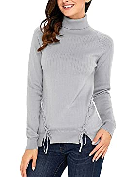 Petalum Damen Pullover Herbst Winter Casual Elegant Rollkragen Langarm Stretch Slim Fit Lace Up Warm Strickpullover...