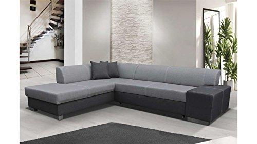 Justhome porto divano angolare divano letto tessuto a strutturale (axlxp): 73x278x216 cm grigio grigio i penisola a sinistra
