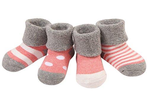 Happy Cherry Vintage Baby Mädchen 4 Paar Winter Verdickte Baumwolle Socken Set Süß und Lieblich - Hellrosa Gepunkt Gestreift 12-36 Monate -