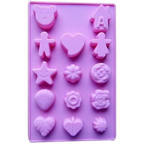 Dansuet 14 Cavit¨¤ antiaderente sveglia del gel del silicone mestiere della torta muffa del cioccolato Candy sapone vassoio del cubo di ghiaccio di cottura Bakeware muffa DIY, Carino muffa del silicone del gel di torta per le donne