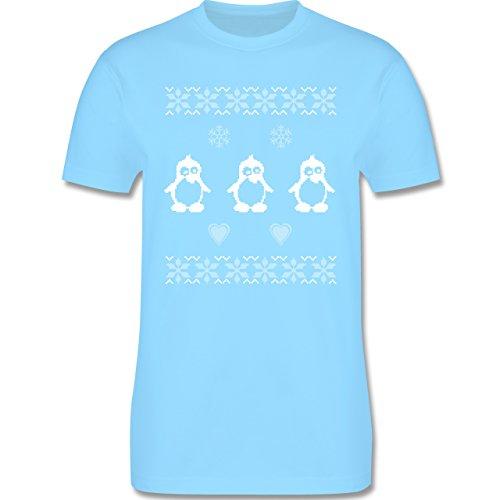 Weihnachten & Silvester - Norweger Pixel Pinguin - Herren Premium T-Shirt Hellblau