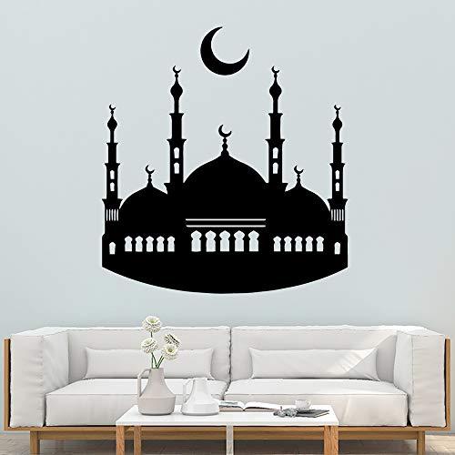 Geiqianjiumai Familie islamischen muslimischen Wandaufkleber PVC-Kunst Wandaufkleber Moderne Mode Vinyl Wandtattoos dekorative Wandaufkleber schwarz M 28cm X 30cm