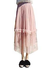 2502242f5ac7 Maxirock Damen Tüllrock Elegant Fashion High Waist A-Linie mit Perlen  Cocktail Party Petticoat Plisseerock Festlich…