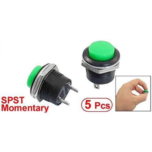 Preisvergleich Produktbild REFURBISHHOUSE 5 x-Knopfs keine gruene runde Kappe Drucktastenschalter AC 6A / 125V 3A / 250V