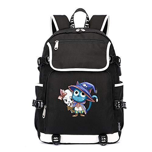 Fairy Tail Rucksäcke Einfacher Art Studenten-Rucksack USB-Aufladungstasche-Jugend-Computer-Tasche Diebstahlsicherer Rucksack (Color : Black03, Size : 37 X 16 X 45cm)