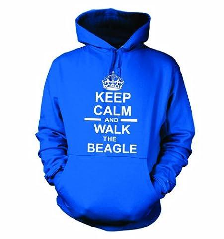 Keep Calm And Walk The Beagle Hooded Sweatshirt Hoody In Royal Blue l