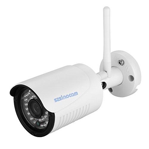 Szsinocam 720P Telecamera Videosorveglianza Wireless WLAN 1.0 Megapixel ONVIF H.264 WIFI IP Camera Cam Impermeabile e Visione Notturna, Esterno/Interno