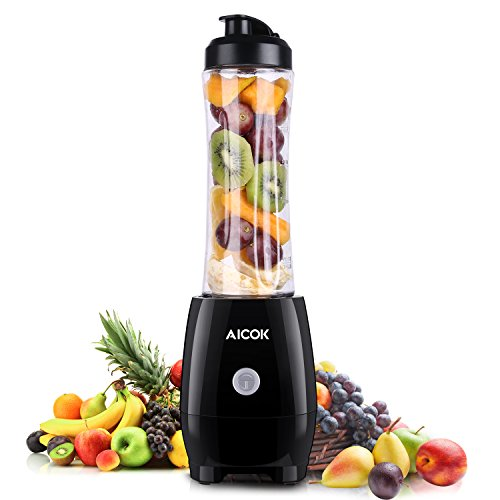 Aicok-Batidora-de-Vaso-Mix-and-Go-Licuadora-Para-Zumos-Mini-Batidora-y-Picadora-de-Frutas-Para-Smoothies-Frappes-Batidos-300W-Libre-de-BPA-600ML-Negro